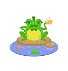 Gentelman cartoon frog character vector