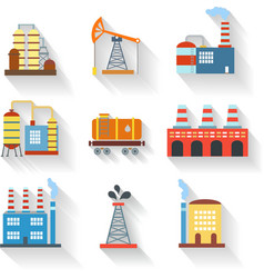 Industrial and Building icons flat style vector image vector image