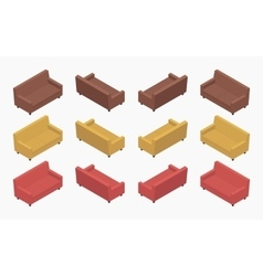 Isometric modern colored sofas vector image