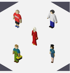 Isometric person set of male guy female and vector