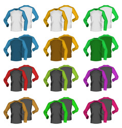 Long sleeve blank two colored t-shirt template vector