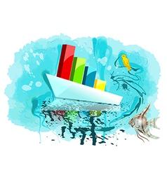 multicolor graph on ship vector image vector image