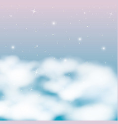 Nightly background with shining clouds and starry vector