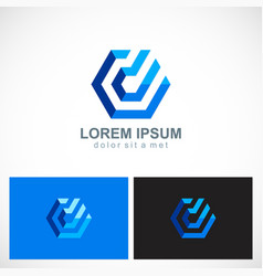 polygon line abstract technology logo vector image