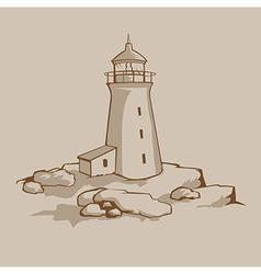 Rock lighthouse vector