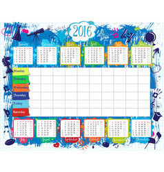 School timetable and calendar2016 vector image vector image