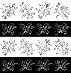 Seamless pattern contour flowers vector