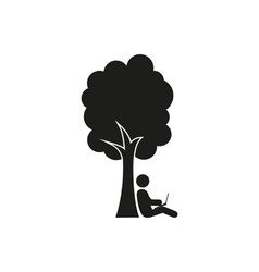 Silhouette of man under a tree stick figure vector