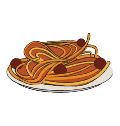 spaghetti with meatballs food icon image vector image vector image