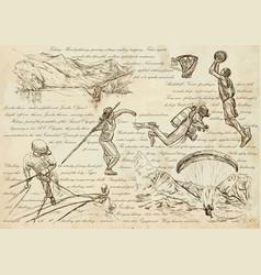 sport mix - an hand drawn line art vector image vector image