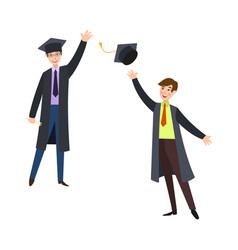 Two happy college students in graduation gowns vector