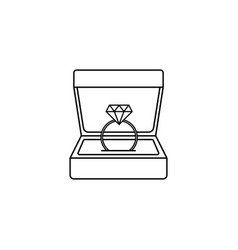 Wedding diamond ring in gift box line icon vector
