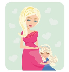 Girl hugging pregnant mothers belly vector