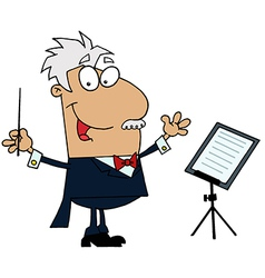 Tan cartoon music conductor man vector