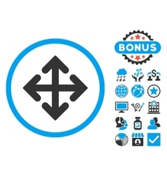 Direction variants flat icon with bonus vector
