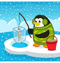 Penguin on fishing vector