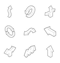 Direction icons set outline style vector