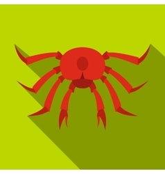 Red crab icon flat style vector