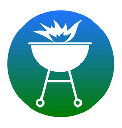 Barbecue with fire sign  white icon in vector