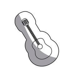 sticker sketch contour acoustic guitar icon vector image