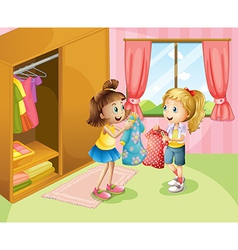 Two girls showing their clothes inside the house vector image