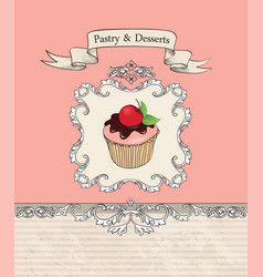 Cake cafe menu background bakery label sweet vector
