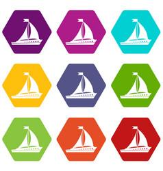 Sailing ship icon set color hexahedron vector