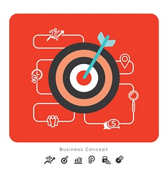 Success business concept icons with target vector
