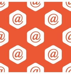 Orange hexagon at-sign pattern vector