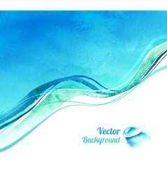 Watercolor background with waves vector
