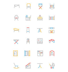 Furniture colored outline icons 4 vector
