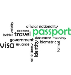 Word cloud passport vector