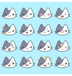 Set of simple cute cat emoticons vector