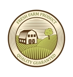 Flat farm logo label and design badge natural vector image