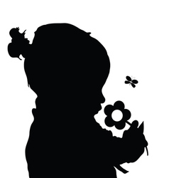 Child with flower silhouette vector