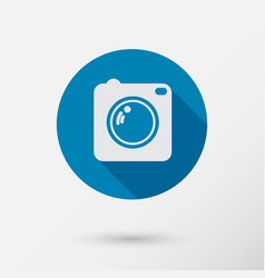 camera icon with long shadow flat style vector image