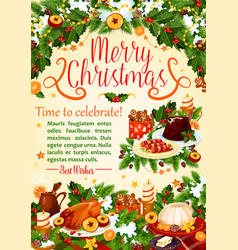 Christmas turkey poster new year holiday design vector