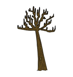 Comic cartoon winter tree vector