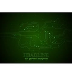 Dark green technology circuit board background vector image vector image
