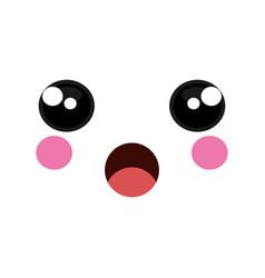 Face emoticon kawaii style vector