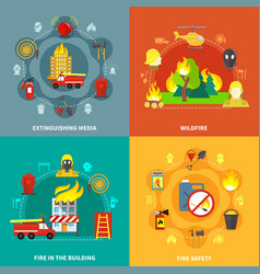 firefighting 2x2 concept vector image vector image