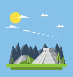 Flat design of Chichen Itza Mexico vector image