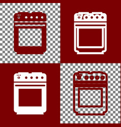 Gas stove sign bordo and white icons and vector
