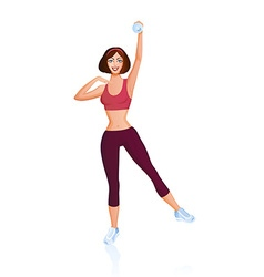 Girl is engaged in fitness with dumbbell vector image vector image