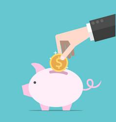 hand coin piggy bank vector image
