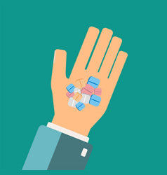 hand holding medical pills healthcare concept vector image