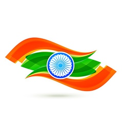 Indian flag design with wave style in tricolor vector