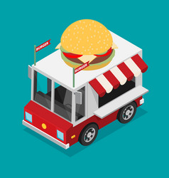 isometric of food truck in flat style vector image