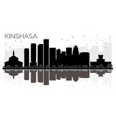 Kinshasa city skyline black and white silhouette vector
