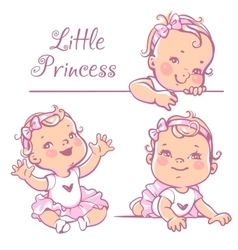 Little baby girl set vector image vector image
